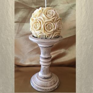 Bougie sculpture décorative artisanale cire naturelle de soja. Modèle boule 10 cm. Personnalisable  - 2