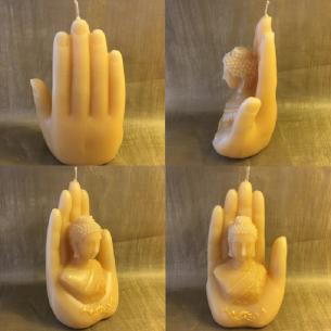 Bougie sculpture décorative artisanale cire naturelle de soja. bouddha dans main 18 cm. Personnalisable  - 2