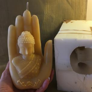 Bougie sculpture décorative artisanale cire naturelle de soja. bouddha dans main 18 cm. Personnalisable  - 4