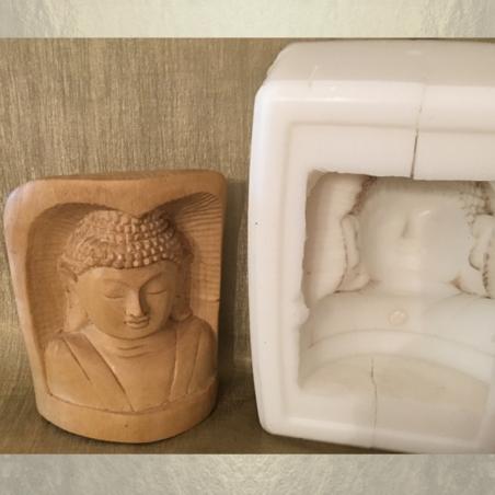 Bouddha sculpture sur bois pour bougie artisanale décorative cire naturelle de soja,  250 parfums avec moule