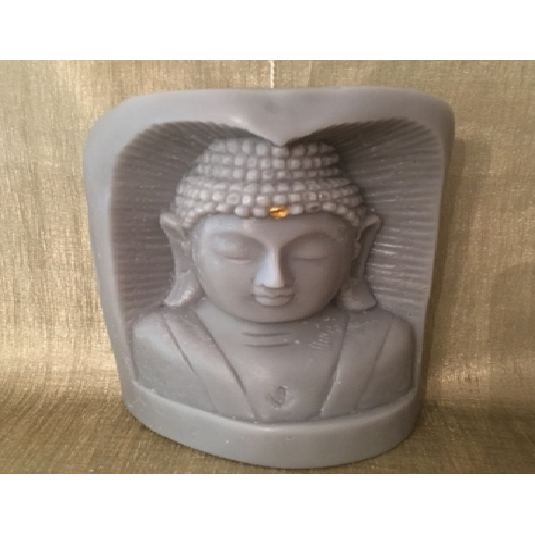 Bougie bouddha sculpture sur bois artisanale décorative cire naturelle de soja,  250 parfums disponibles