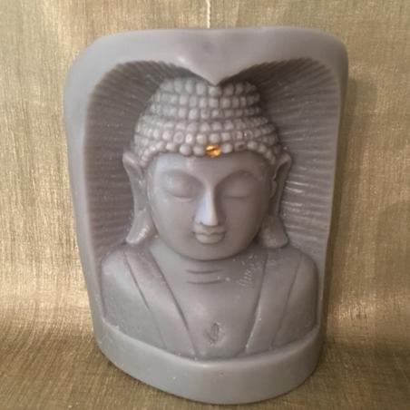Bougie sculpture décorative artisanale cire naturelle de soja. Bouddha statue bois 13 cm. Personnalisable