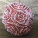 Bougie  décorative sculpture parfumée sucre roux artisanale cire naturelle de soja  couleur terre cuite pastel 2 boule de rose