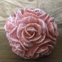 Bougie  décorative sculpture parfumée sucre roux artisanale cire naturelle de soja  couleur terre cuite pastel  boule de rose