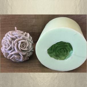 Bougie  décorative sculpture boule de roses artisanale cire naturelle de soja parfum grenadine avec moule