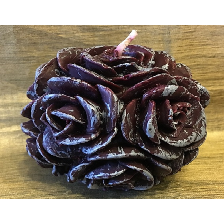 Bougie  décorative sculpture parfumée caramel beurre salé artisanale boule de rose