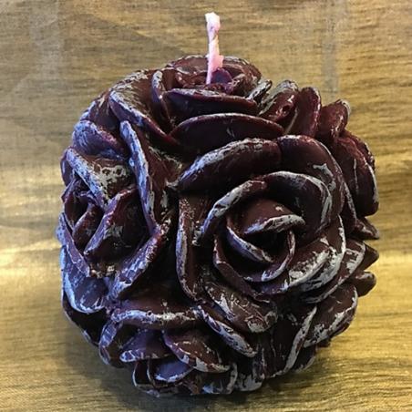Bougie  décorative sculpture boule de roses artisanale cire naturelle de soja parfum caramel beurre salé 2