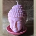 Bougie Bouddha artisanale décorative sculpture cire naturelle de soja parfumée dans sa soucoupe