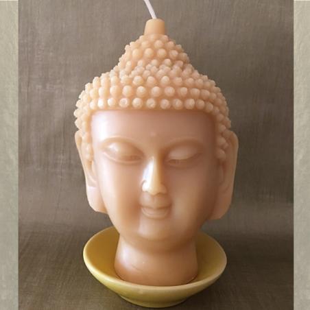 Bougie décorative sculpture parfumée monoï artisanale tête de bouddha 14 cm