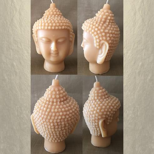 Bougie décorative sculpture parfumée monoï artisanale tête de bouddha 14 cm 4 faces
