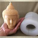 Bougie décorative sculpture parfumée monoï artisanale tête de bouddha 14 cm avec moule