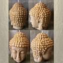 Bougie Bouddha décorative sculpture artisanale cire naturelle de soja avec soucoupe parfum fleur de tiaré poudrée 4 faces