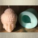Bougie Bouddha décorative sculpture artisanale cire naturelle de soja avec soucoupe parfum fleur de tiaré poudrée avec moule