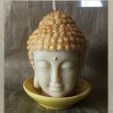 Bougie Bouddha décorative sculpture artisanale cire naturelle de soja avec soucoupe sans parfum
