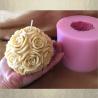 Bougie sculpture artisanale décorative cire naturelle de soja modèle boule de rose 10,5 x 10cm avec moule