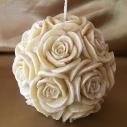 Bougie sculpture artisanale décorative cire naturelle de soja modèle boule de rose perlé 10,5 x 10 cm
