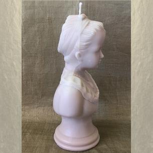 Bougie décorative sculpture cire naturelle de soja modèle buste parfum amande  frangipane artisanale profil 2