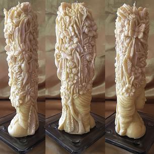 Bougie sculpture artisanale décorative cire naturelle de soja modèle dame nature 3 faces