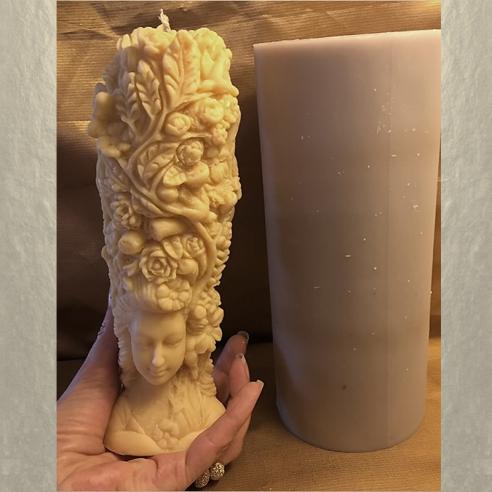 Bougie sculpture décorative artisanale personnalisable. Cire naturelle de soja. Modèle dame nature 21,5 cm moule