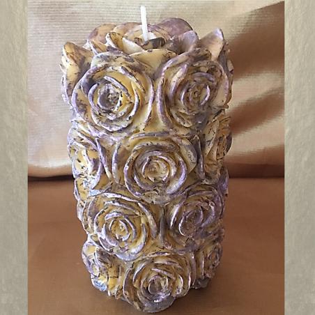 Bougie sculpture décorative artisanale cire naturelle de soja, pilier 14 cm