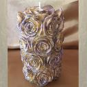 Bougie pilier sculpture artisanale décorative cire naturelle de soja modèle pilier de rose 14 cm.