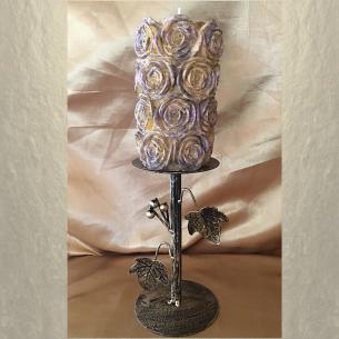 Bougie sculpture décorative artisanale cire naturelle de soja, pilier 14 cm  - 3
