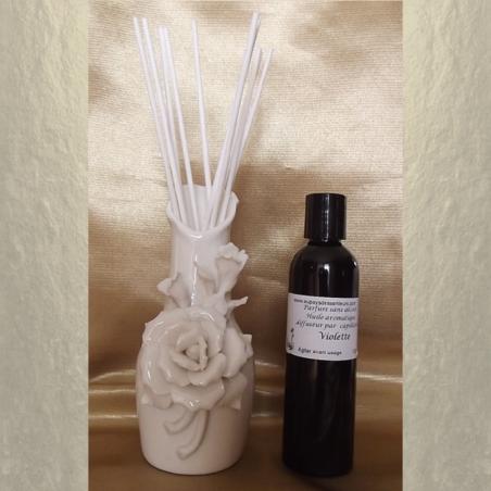 Diffuseur par capillarité vase en céramique fleurs, bâtons en coton