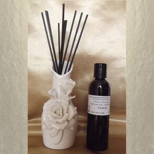Diffuseur par capillarité vase en céramique fleurs, bâtons en coton  - 2