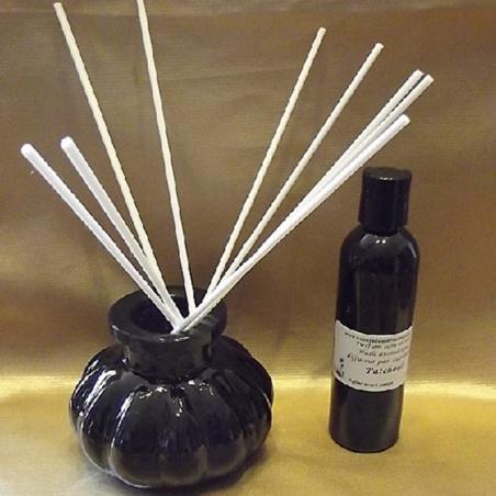 Diffuseur par capillarité bâtons en coton, vase noir parfum sans alcool