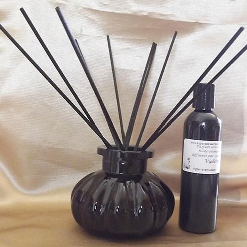 Diffuseur par capillarité bâtons noirs en coton, vase noir parfum sans alcool