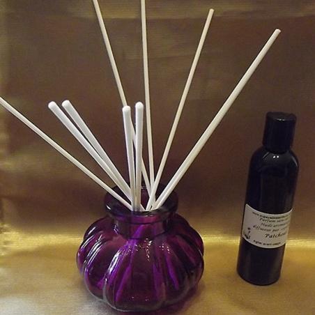 Diffuseur par capillarité bâtons en coton, vase parme parfum sans alcool