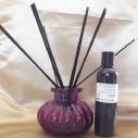 Diffuseur par capillarité bâtons noirs en coton, vase parme parfum sans alcool