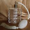 vaporisateur de parfum poire ivoire, blanc cassé en verre carré plat vide et rechargeable 110ml motif spirale