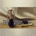Fiole à parfum, collier pendentif en titane or et noir
