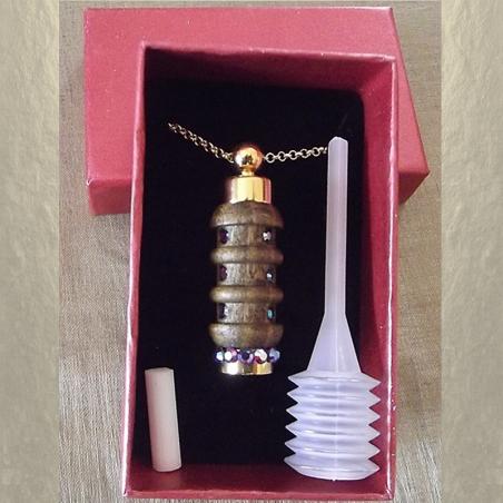 Collier fiole à parfum bois et or strass CRISTAL DE SWAROVSKI FUCHSIA AB artisanal dans boite cadeau et pipette de remplissage