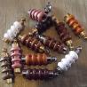 Collier fiole à parfum bois et or strass CRISTAL DE SWAROVSKI  artisanal base groupé