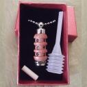 Collier fiole à parfum bois et  argent strass CRISTAL DE SWAROVSKI LILAC SHADOW dans coffret cadeau et pipette de remplissage