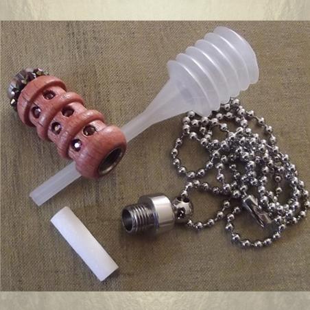 Collier fiole à parfum bois et  argent strass CRISTAL DE SWAROVSKI LILAC SHADOW ouvert