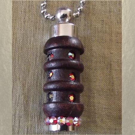 Collier fiole à parfum bois et argent strass CRISTAL DE SWAROVSKI HYACINTH AB artisanal