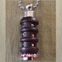 Collier fiole à parfum bois et  argent strass CRISTAL DE SWAROVSKI HYACINTH AB