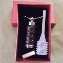 Collier fiole à parfum bois et  argent strass CRISTAL DE SWAROVSKI HYACINTH AB dans coffret cadeau et pipette de remplissage