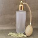 Vaporisateur de parfum poire or verre givré tube rond 130 ml vide et rechargeable