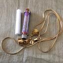 Collier pendentif diffuseur de parfum plaqué or 24k strass CRISTAL DE SWAROVSKI VOLCANO rose antique parme artisanal ouvert