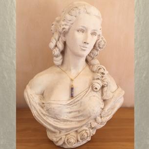 Collier pendentif diffuseur de parfum plaqué or 24k CRISTAL DE SWAROVSKI VOLCANO artisanal  - 4