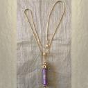 Collier pendentif diffuseur de parfum plaqué or 24k strass CRISTAL DE SWAROVSKI VOLCANO rose antique parme artisanal entier