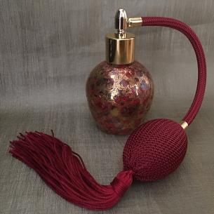 Vaporisateur de parfum poire verre 60ml décoration finition artisanale rouge bordeaux or Poire rétro longue
