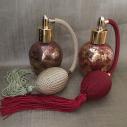 Vaporisateur de parfum poire vide et rechargeable 60 ml finition artisanale rouge bordeaux or 2 couleurs de poires