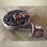 Collier pendentif fiole à parfum CRISTAL DE SWAROVSKI VOLCANO filigrane rond 3D relief argent vieilli ouvert artisanal
