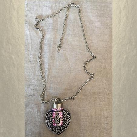 Collier pendentif fiole à parfum CRISTAL DE SWAROVSKI FIRE OPAL AB filigrane cœur bronze artisanal entier
