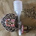Collier pendentif fiole à parfum CRISTAL DE SWAROVSKI FIRE OPAL AB filigrane cœur bronze artisanal ouvert